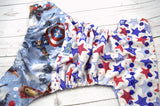 Derrick's American Hero (prined pul outer, red caps/ royal pieces)<br>Wrap Around, One Size Pocket Diaper<br>Instock and Ready to Ship