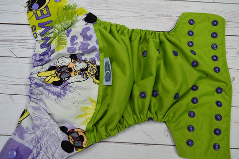 Mouse Friends (ribbit pul, imperial purple awj, two toned snaps- med purple caps & imperial purple pieces) <br>Wrap Around, One Size Pocket Diaper<br>Instock and Ready to Ship