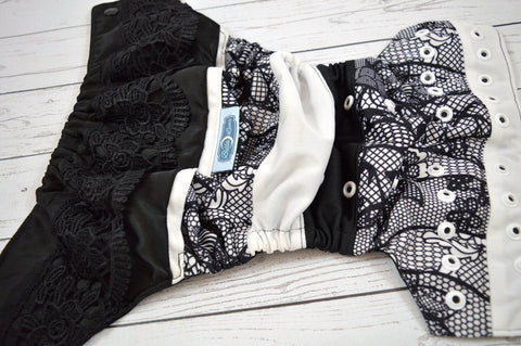 One and Only ( two-toned snaps -  black caps / white pieces )<br>ONE OF A KIND<br>One Size Pocket Diaper<br>Instock and Ready to Ship