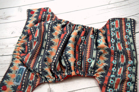 Aztec (red caps / seaspray pieces)<br>Traditional, One Size Pocket Diaper<br>Instock and Ready to Ship