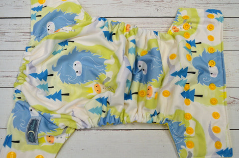 Big Blue Yetti (citron awj, marigold snaps) <br>Performance Knit Traditional, One Size Pocket Diaper<br>Instock and Ready to Ship
