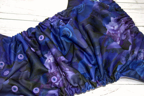Blue Roses WITHOUT (royal caps / medium purple pieces)<br>Traditional, One Size Pocket Diaper<br>Instock and Ready to Ship