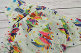 Rainbow Tree (spring green awj, two toned snaps- aqua caps & apple green pieces) <br>Traditional, One Size Pocket Diaper<br>Instock and Ready to Ship