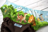 Little Foots Adventure (brown outer, apple/bronze/light blue alternating snaps)<br>Wrap Around, One Size Pocket Diaper<br>Instock and Ready to Ship
