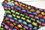 Space Invaders (black awj & snaps) <br>Traditional, One Size Pocket Diaper<br>Instock and Ready to Ship