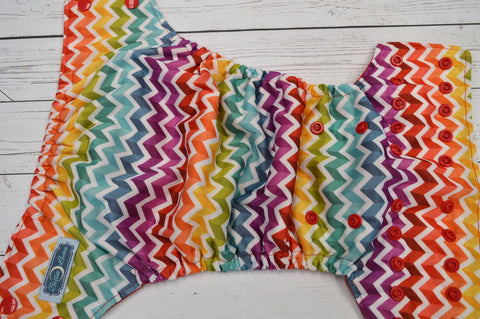 Pastel Rainbow Chevron (red awj & snaps) <br>Traditional, One Size Pocket Diaper<br>Instock and Ready to Ship