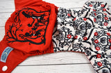 Queen of Hearts Tea Party ( red awj , two-toned snaps - white caps / red pieces) <br>Embroidered Half & Half, One Size Pocket Diaper<br>Instock and Ready to Ship