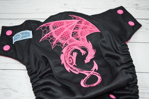 Hot Pink Dragon ( black outer , hot pink snaps ) <br>Embroidered, One Size Pocket Diaper<br>Instock and Ready to Ship