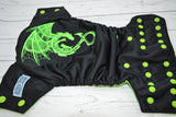 Lime Dragon ( black outer, apple snaps ) <br>Embroidered, One Size Pocket Diaper<br>Instock and Ready to Ship