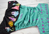 Princess Splash ( speckled jade outer, two-toned snaps - hot pink caps violet pieces) <br>Wrap Around, One Size Pocket Diaper<br>Instock and Ready to Ship