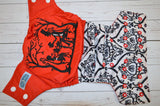 Queen of Hearts Tea Party (red awj, two toned snaps; white caps, red pieces) <br>Embroidered Half & Half, One Size Pocket Diaper<br>Instock and Ready to Ship
