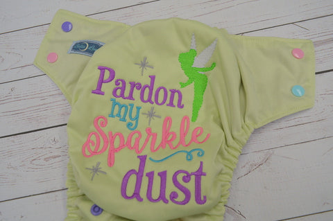 Sparkle Dust (celery pul, lavender awj, seaspray, light pink, med purple alternating snaps) <br>Embroidered, One Size Pocket Diaper<br>Instock and Ready to Ship