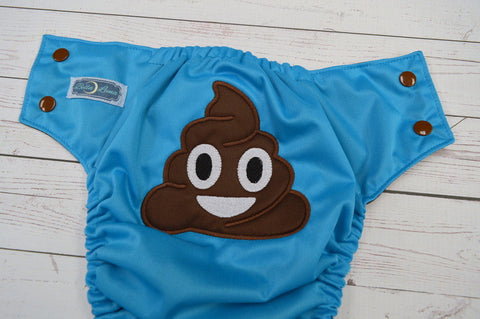 Aqua Poopmogi (aqua outer, brown awj & snaps) <br>Embroidered, One Size Pocket Diaper<br>Instock and Ready to Ship