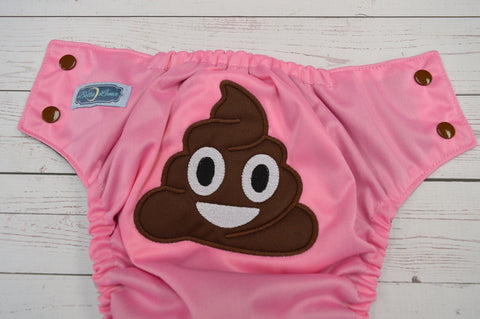 Pink Poopmogi (raspberry outer, brown awj & snaps) <br>Embroidered, One Size Pocket Diaper<br>Instock and Ready to Ship
