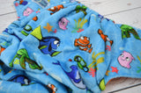Just Keep Swimming ( minky outer, royal blue snaps ) <br>Traditional MINKY, One Size Pocket Diaper<br>Instock and Ready to Ship