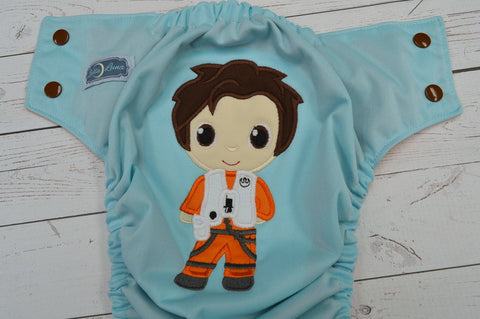 New Galactic Hero (seaspray outer, orange inner, two toned snaps; brown caps, orange pieces) <br>Embroidered, One Size Pocket Diaper<br>Instock and Ready to Ship
