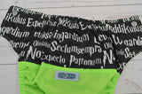 Spells (neon green outer, black awj, silver snaps) <br>Wrap Around, One Size Pocket Diaper<br>Instock and Ready to Ship