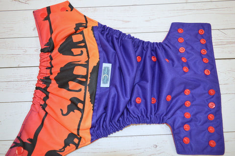 Sunset Safari (imperial outer, red awj & snaps) <br>Wrap Around, One Size Pocket Diaper<br>Instock and Ready to Ship