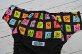 Periodic Table (black outer, aqua awj, seaspray, red, orange alternating snaps) <br>Wrap Around, One Size Pocket Diaper<br>Instock and Ready to Ship