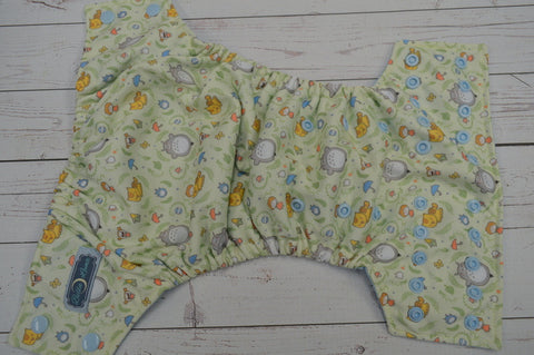 Gray Potato Dude (light blue awj & snaps) <br>Performance Knit Traditional, One Size Pocket Diaper<br>Instock and Ready to Ship