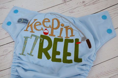 Keepin' It Reel (seaspray pul, aqua awj & snaps) <br>Embroidered, One Size Pocket Diaper<br>Instock and Ready to Ship