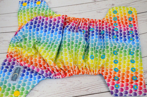 Rainbow Dots (aqua awj, two toned snaps; marigold caps, aqua pieces)  <br>Traditional, One Size Pocket Diaper<br>Instock and Ready to Ship