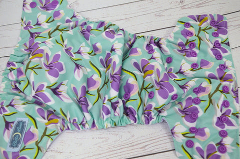 Purple Petals (lavender awj, violet snaps)  <br>Traditional, One Size Pocket Diaper<br>Instock and Ready to Ship