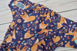 Flower Fox (seaspray awj, two toned snapsl seaspray caps, aqua pieces) <br>Traditional, One Size Pocket Diaper<br>Instock and Ready to Ship