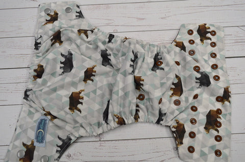 Geometric Bears (brown awj, two toned snaps; silver caps, brown pieces) <br>Traditional, One Size Pocket Diaper<br>Instock and Ready to Ship