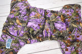 Purple Woodland (brown awj & snaps) <br>Traditional, One Size Pocket Diaper<br>Instock and Ready to Ship