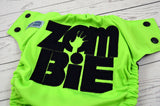 Neon Zombie Boy ( neon green outer , black snaps ) <br>Embroidered, One Size Pocket Diaper<br>Instock and Ready to Ship