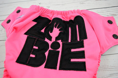 Neon Zombie Girl ( neon pink outer , black snaps ) <br>Embroidered, One Size Pocket Diaper<br>Instock and Ready to Ship