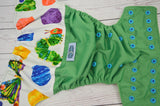 A Very Hungry Worm (kelly pul, spring green awj, two toned snaps; royal caps, aqua pieces) <br>Wrap Around, One Size Pocket Diaper<br>Instock and Ready to Ship
