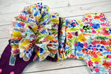 Watercolor Flower Garden Half & Half WITH RUFFLES ( hot pink snaps ) <br>PK Wrapped Crazy Scrappy, One Size Pocket Diaper<br>Instock and Ready to Ship