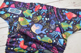 Bright Tropical Fishies (aqua awj, two toned snaps; aqua caps, kelly pieces) <br>Traditional, One Size Pocket Diaper<br>Instock and Ready to Ship