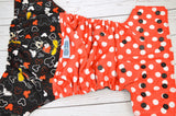 Mouse Dots (printed pul, black awj & snaps) <br>Wrap Around, One Size Pocket Diaper<br>Instock and Ready to Ship