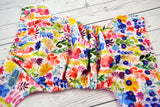 Watercolor Flower Garden ( two-toned snaps , hot pink caps / royal pieces )<br>Traditional, One Size Pocket Diaper<br>Instock and Ready to Ship