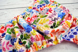 Newborn/Size 1- Watercolor Flower Garden Newborn ( two-toned snaps , hot pink caps / royal pieces )<br>Traditional Size One Pocket Diaper<br>Instock and Ready to Ship