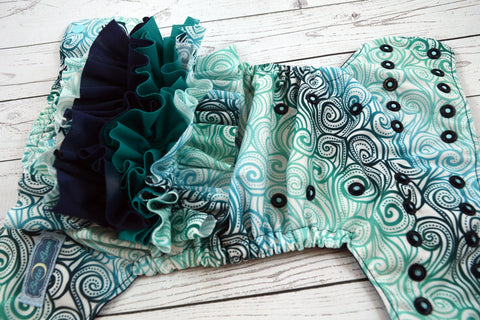 Vintage Waves WITH RUFFLES ( two-toned snaps - seaspray caps / navy pieces) <br>Traditional, One Size Pocket Diaper<br>Instock and Ready to Ship