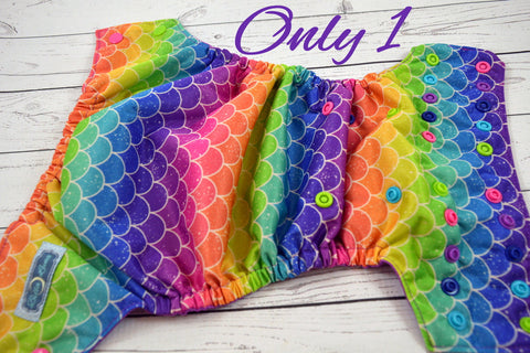 Mermaid Scales ( apple, aqua, royal, violet, hot pink alternating snaps ) <br>Traditional, One Size Pocket Diaper<br>Instock and Ready to Ship