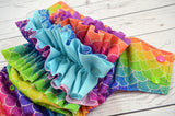 Mermaid Scales WITH RUFFLES ( apple, aqua,a royal, violet, hot pink alternating snaps ) <br>Traditional, One Size Pocket Diaper<br>Instock and Ready to Ship