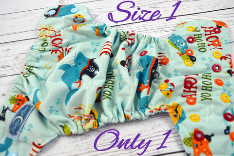 Newborn/Size 1- Ahoy Newborn  ( light blue caps -  alternating with orange, red, marigold pieces)<br>Traditional Size One Pocket Diaper<br>Instock and Ready to Ship
