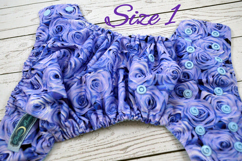 Newborn/Size 1- Blue Roses Newborn ( light blue snaps ) <br>Traditional Size One Pocket Diaper<br>Instock and Ready to Ship