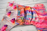 Coral In The Rain (printed pul outer,  hot pink snaps) <br>Wrap Around, One Size Pocket Diaper<br>Instock and Ready to Ship
