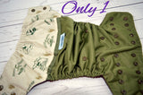 My John Deere (olive outer, bronze snaps)<br>Wrap Around, One Size Pocket Diaper<br>Instock and Ready to Ship