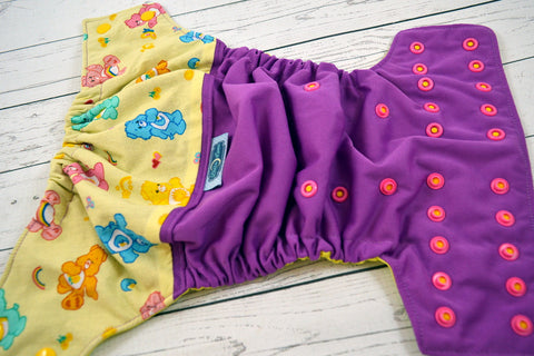 Cotton Cute Bears (violet outer, two-toned snaps - marigold caps hot pink pieces)<br>Wrap Around, One Size Pocket Diaper<br>Instock and Ready to Ship