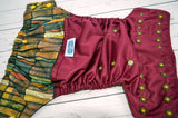 Spellbook Library ( burgundy outer, two-toned snaps - marigold caps / bronze pieces) <br>Wrap Around, One Size Pocket Diaper<br>Instock and Ready to Ship