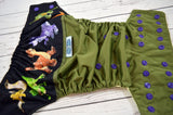 Little Big Adventure ( olive outer, imperial snaps ) <br>Wrap Around, One Size Pocket Diaper<br>Instock and Ready to Ship
