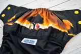 Remember Who You Are ( black outer / two-toned snaps - marigold caps / orange pieces) <br>Wrap Around, One Size Pocket Diaper<br>Instock and Ready to Ship