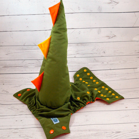 Olive ( orange awj ) Dino Tail<br>One Size Pocket Diaper<br>Instock and Ready to Ship